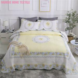 3Pcs Yellow Floral Cotton Quilted Bedspread Luxury Coverlet Queen King Bed Cover