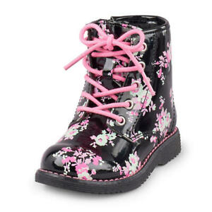 New cute The Children's Place Roxy black floral combat boots toddler girl 9 17cm