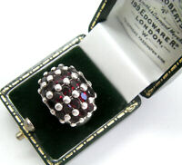 BEAUTIFUL STATEMENT GARNET CLUSTER RING 925 SILVER HALLMARKED RING Q  8