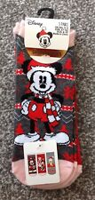 Disney Mickey Mouse Christmas Shoe Liner Socks Size 4-8 New Primark