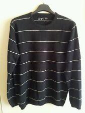 Maglione in lana 100% da uomo Taglia XL colore nero a righe  - NUOVO -