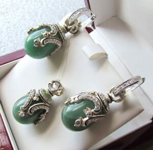 JADE EARRINGS & PENDANT SET HANDMADE RUSSIAN SOLID STERLING SILVER 925