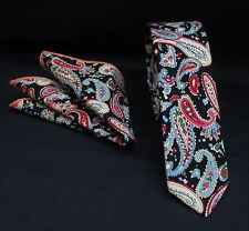 Tie Cravatta Con Fazzoletto Slim Nero Multi Paisley cotone di alta qualità MTB09