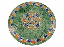 "36"" green marble coffee center inlay art handicraft table top room decor"