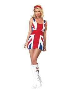 Adult British Flag Union Jack Dress Spice Costume Ginger Girls Fancy Dress
