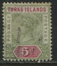 Turks Islands QV 1894 5d olive green & carmine used