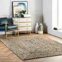 nuLOOM Hand Braided Denim Cotton and Jute Blend Area Rug in Tan and Blue