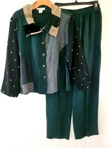 Womens Donna Jessica Art to Wear Top & Pants Outfit Suit 2 L/XL