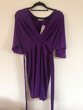 Size 12 slinky purple dress with v-neck and under-bust tie from ASOS