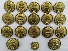 "18x British:""ROYAL NAVY BRASS BUTTONS"" (Various Makers, 23mm-15mm, WW1 Economy)"