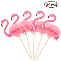 24pcs Flamingo Cupcake Toppers Tropical Themed Party Decorations Pink
