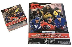 2020-21 Topps NHL Hockey Stickers Box of 50 Packs plus Sticker Album