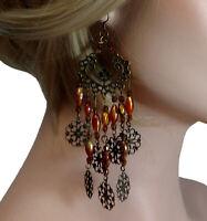 """Pierced Earrings Chandelier Topaz Color Gold Tone Dangle 5"""" Shoulder Duster"""
