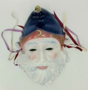 Rare Painted Ceramic Wizard Mask w/ Moon & Stars Holiday Decoration OLD Vintage