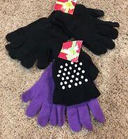 Girls Black Purple Joe Boxer Texting Gloves 4 Pair
