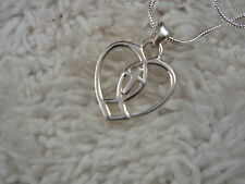 Sterling Silver Double Heart Cross Pendant Necklace (A55)