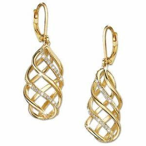 (YGE 5)  GORGEOUS YELLOW GOLD/CZ  LEVERBACK EARRINGS