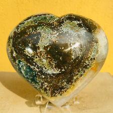 573g Beautiful Ocean Jasper Geode Quartz Crystal Heart Mineral Specimen Healing