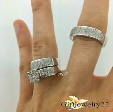 14K White Gold Diamond Bridal Engagement Ring His And Her Trio Wedding Band Set