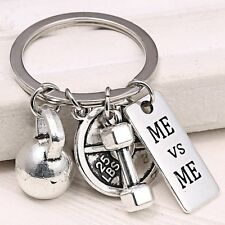 ME vs ME DUMBBELL WEIGHT Fitness Weightlifting Gym CrossFit Keychain Keyring New