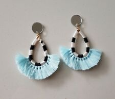 Baby blue statement tassel fringe stud dangle boho earrings silver mirror pad