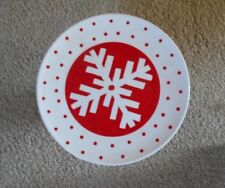 "New BW  Pedestal Footed Cake Stand Plate 10"" Ceramic Red Snowflake Holiday"