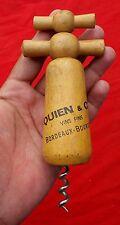 Vintage QUIEN & Cie VINS FINS,BORDEAUX-BOURGOGNE,FRENCH WOODEN CORK SCREW OPENER