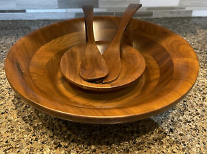 Fame Walnut Wooden Bowl And Spoon Set ~ 4 Pieces ~