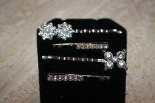 SET of 4 Bobby Pin Crystal & Silver DRESSY Hair Pins Butterfly, Flower, Bar NEW