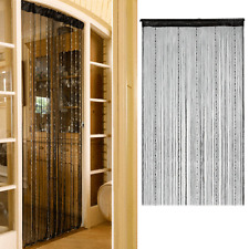 Room Door Window Black String Beads Fringe Curtain Wall Panel Divider Home Decor