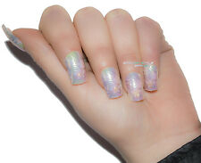 TIPS ONGLES FAUX ORNÉES FRENCH TIP 12 PZ PEARL ROSA BLANC JAUNE FANTASIA