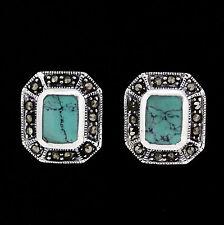 Sterling Silver Marcasite & Sim Turquoise Vintage Style Stud Earrings RRP $85