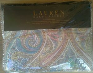 RALPH LAUREN PASTEL PAISLEY MEDALLION STRIPE SET OF 2 KING QUILTED COTTON SHAMS