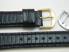 Black genuine Lizard Men's 20 R watchband watch strap band 2 buckles