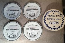 """Gien France Gastronomie 6.5"""" Cheese Plates Set of 4 New NOS"""
