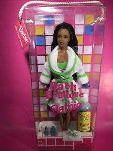 NRFB Mattel Bath Boutique Barbie Doll African American AA 1998 Bubble Bath