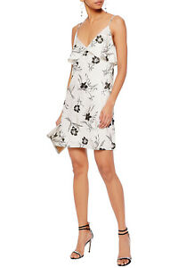 Alice + Olivia Bess Jacquard Ruffle Slip Mini Dress Floral Cream Black Size M
