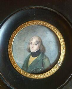 MINIATURE PORTRAIT Un Jeune Homme Sous Le Directoire, XVIII ème EMPIRE MOURNING