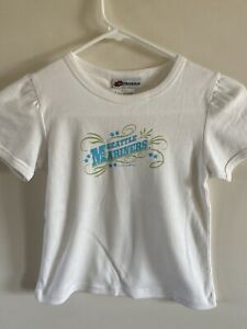 Seattle Mariners Girl's 7/8 Crew Neck T-Shirt Rouched Sleeves NWT 5th & Ocean