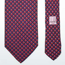 DUNHILL TIE Red Floral on Dark Blue Narrow Silk Necktie