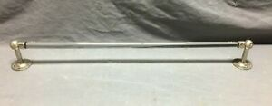 "Vintage Brass crafters  Glass 26"" Towel Bar Nickel Brass Brackets Old  396-21B"