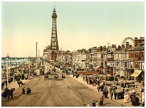 Blackpool The Promenade Vintage photochrome print ca. 1890