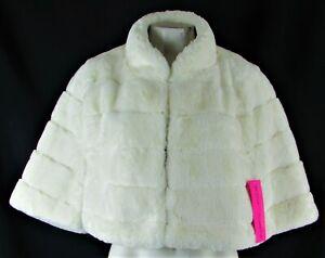 Betsey Johnson Women's Ivory Faux-Fur Capelet
