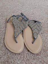 Accessorize Toe Post Beaded Sandals 6 New