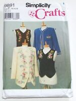 Simplicity 9891 Pattern Jackets Vest Size 12-14-16 New Uncut Ribbon Embroidery