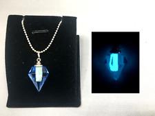 Blue Crystal GLOW in the DARK Aqua Charm Pendant Vial Necklace - Jewel Diamond