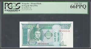 Mongolia 10 Turgrik ND(1993) P54 Uncirculated Graded 66