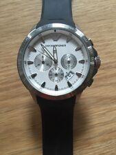 NEW Emporio Armani White Dial Black Rubber Strap Chrono Sport Watch AR0634 $345