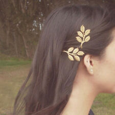 Lovely Fashion Leaves Golden Metal Punk Hairpin Hair Clip Charming Shiny 2 Pcs