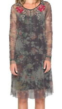Johnny Was Mesh Embroidered Dress Medium 6 8 Brown + Slip Sheer Print GORGEOUS